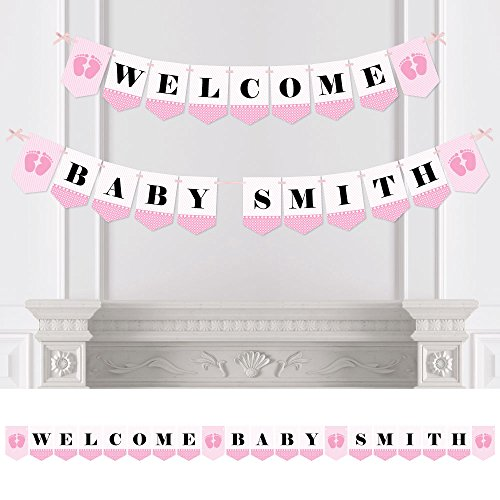 Big Dot of Happiness Custom Baby Feet Pink - Personalized Girl Baby Shower Bunting Banner and Decorations - Welcome Baby Custom Name Banner -