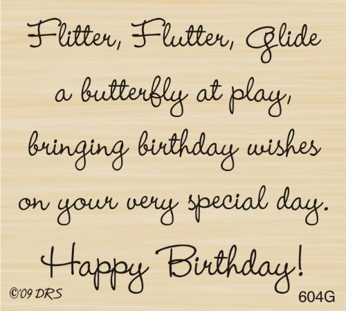 Butterfly Birthday Greeting Rubber Stamp