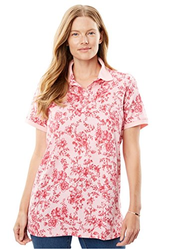 Floral Print Button Front Shirt (Women's Plus Size Perfect Floral Print Polo T-Shirt With Short Sleeves Pink Ice)