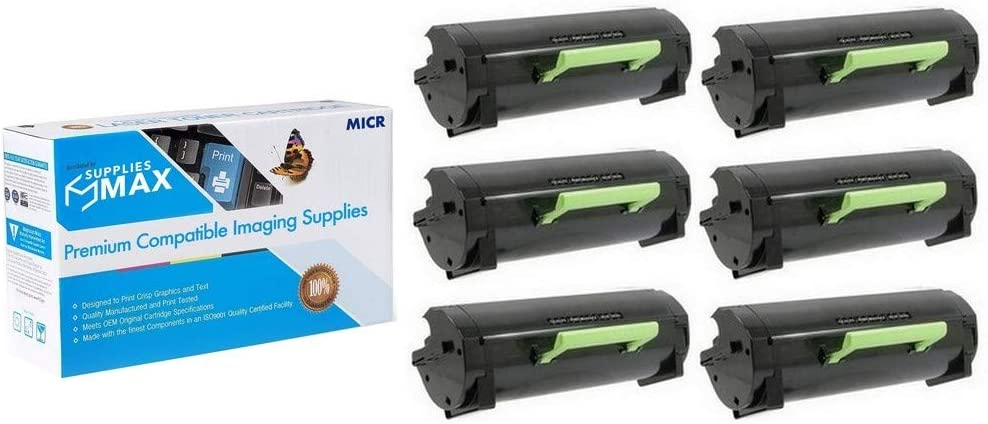SuppliesMAX Compatible MICR Replacement for Dell S5830DN Black High Yield Toner Cartridge (6/PK-25000 Page Yield) (2JX96_6PK)