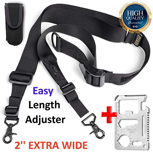 Team's Easy Length Adjustment Rifle Sling- Fits Any Gun,2 Point Hunting Gun Strap, 2'' Extra Wide Srtap|Strong Hooks| Adjustable Length 40''-59''+Free Bonus (Fast Loop) (Remington 870 Super Mag Pistol Grip Stock)