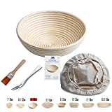 "Banneton Proofing Basket 10"" Round Banneton Brotform for Bread and Dough [FREE BRUSH] Proofing Rising Rattan Bowl + FREE LINER + FREE BREAD FORK (1000g dough)"