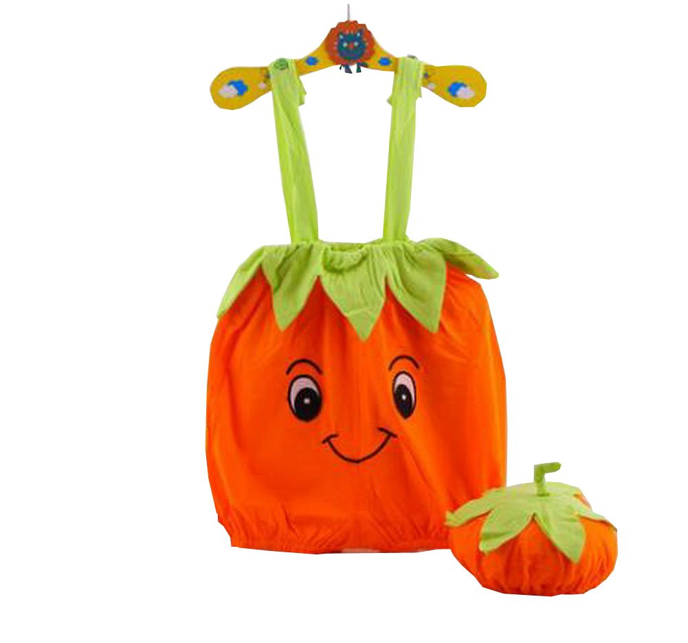Cute Baby Overall Pumpkin Shape A Suit of Overall and Hat Orange 46cm