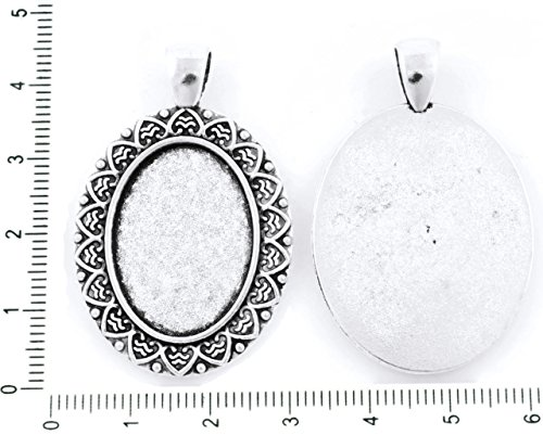 2pcs Antique Silver Tone Large Oval Pendant Leaf Cabochon Setting Blank Tray Metal Base Fit Cameo 18mm x 25mm ()