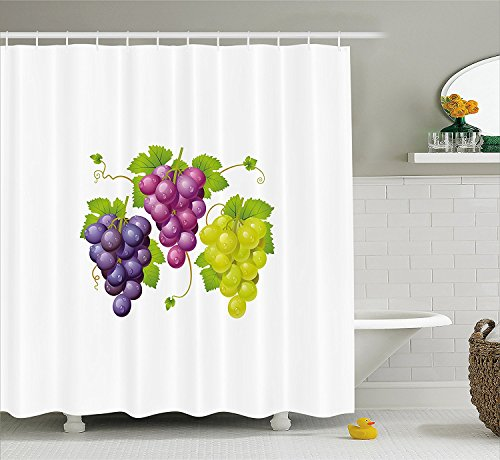 [Grapes Home Decor Shower Curtain Three Cluster of Ivy Burgundy Region Blending Fresh Picture Artwork Fabric Bathroom Decor Set with Hooks Purple] (Grape Vine Halloween Costume)