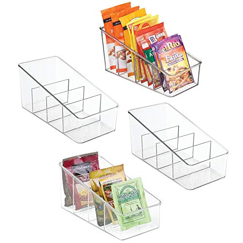 mDesign Large Plastic Food Packet Organizer Caddy - Storage Station for Kitchen, Pantry, Cabinet, Countertop - Holds Spice Pouches, Dressing Mixes, Hot Chocolate, Rice, Taco Seasoning, 4 Pack - Clear