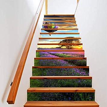Lizpwq Adhesivo De Escalera Diy3D Etiqueta De La Escalera Decoración del Hogar Escaleras Autoadhesivas Piso Pasos Poster PVC Etiqueta De La Pared Escalera A Prueba De Agua (100 * 18cm)*6 Piezas: Amazon.es: