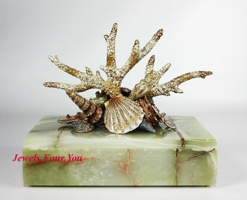 Armand Box Set - Jay Strongwater Grotto Armand Coral Reef Marble Box Swarovski New Original Box