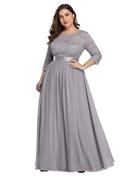 Alisapan Womens Plus Size Long Bridesmaid Dress Lace Formal Evening Wedding  Party Dresses 7412