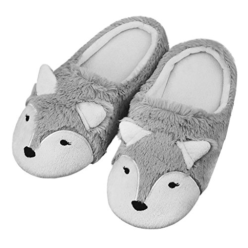 Lovely 3D Fox Animal Theme Coral Fleece Slippers Mules Soft Warm Thicken Winter Indoor Slippers Halloween Costume Accessory Footwear Shoes for Women Teen Girls Grey, Xmas New Year Gift