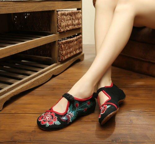 Bininbox Femme Brodé Floral Phoenix Chaussures Sangle Boutons Nuptiale Chaussures De Sport Noir