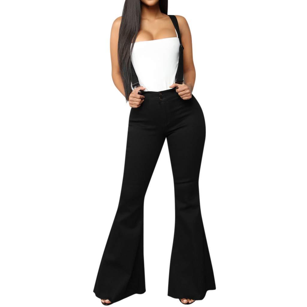 Pants For Women Plus Size Sagton Women High Waist Zipper Jeans Button Strap Pants Trousers Bell-bottom Pants For Valentine's Day present (Black,M)