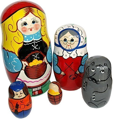 Hand Painted Nesting Dolls – Little Red Riding Hood Stacking Dolls - Set of 5 pcs - Russian Fairy Matryoshka (Homemade Halloween Makeup Zombie)