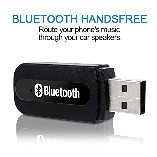 USB Bluetooth Receiver for Car, Music Streaming Car Kit, Portable Wireless Audio Adapter 3.5mm Aux Cable ()