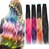 Remeehi 4*50cm Ombre Long Straight Two Side Glue Tape Colorful Hair Piece Colors Human Hair Extension Grey