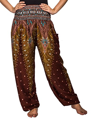 Lofbaz Women's Peacock Print Smocked Waist Harem Pants Brown