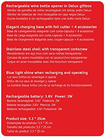 HAEGER LUCCA PACK - Sacacorchos Recargable con Accesorios y batería recargable