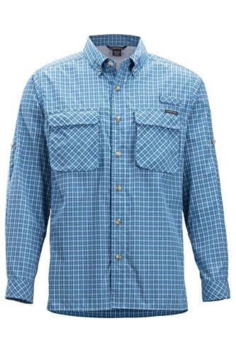 ExOfficio Men's Air Strip Check Plaid Long Sleeve Button Down Shirts, Dk Aegean, Large (Exofficio Mens Air)