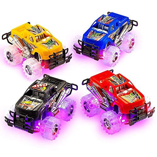 4Es Novelty 2 Pack Push n Go Toy Light Up Monster Truck Pullback Racer Cars, Light Up Wheals, Pullback Trucks Toys for Boys, Best Gift for Kids
