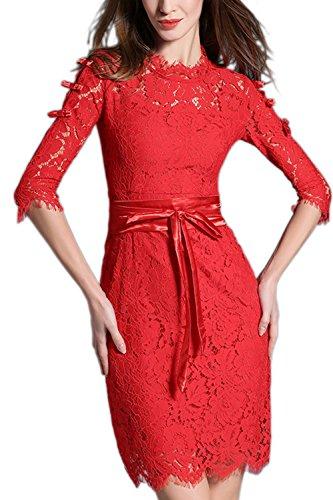 Media manga Vestido de encaje elegante cinturón de la mujer con Bowknot Red