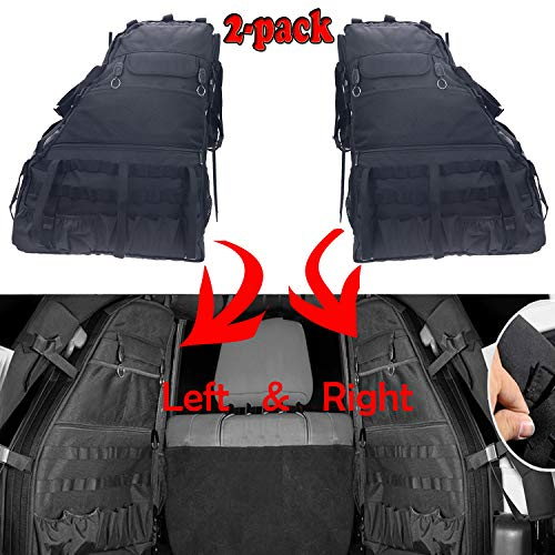 (MOEBULB Roll Bar Storage Bag Cargo Cage Saddlebag for 1997-2017 Jeep Wrangler JK TJ LJ & Unlimited 4-Door with Multi-Pockets Tool Kits Bottle Drink Phone Tissue Gadget Holder (4D,)