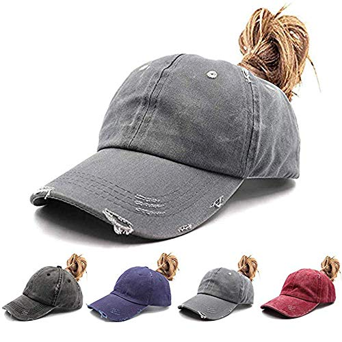 Womens Ponytail Hat Vintage Washed Messy High Buns Ponycaps Baseball Trucker Cotton Adjustable (D2-Grey(High Ponytail hat))