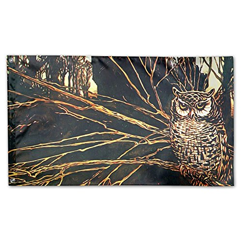 Owl Deluxe Night (Night Owl Deluxe Flag, 3 X 5', Multicolor.)