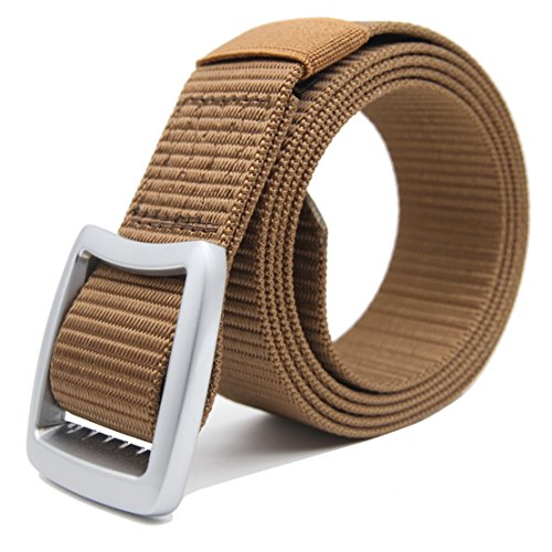 GRASEP Nylon Webbing Tactical Duty Belt 6 Sizes 3 Colors (Coyote + (3 Buckle)
