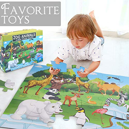 LovesTown Kid Floor Puzzle, 35 Pcs Jumbo Puzzles 2 x 1.5 Ft Giant Floor Puzzle Animals Jigsaw Puzzles for Pre-School Educational Toy