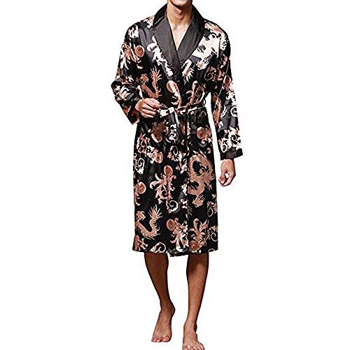 - YIMANIE Men's Satin Robe Dragon Luxurious Silk Spa Long Sleeve House Kimono Bathrobe