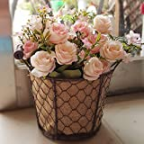 Situmi Artificial Fake Flowers The French Style With Antique Flower Buckets Wire Camellia Roses Pink Home Accessories
