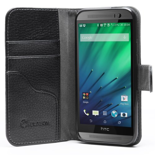 i-Blason All New HTC One M8 Case - Slim Leather Book Cover with Stand Feature Wallet Design with Credit Card ID Holder for HTC One Case 2014(Black)