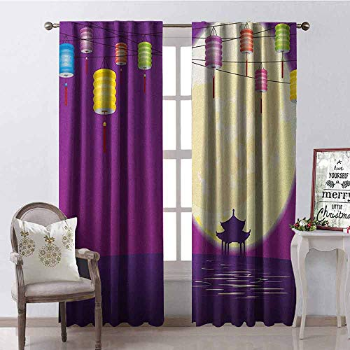 GloriaJohnson Lantern Wear-Resistant Color Curtain Chinese Style Pavilion in Full Moon Night to Celebrate Mid Autumn Festival Waterproof Fabric W52 x L63 Inch Violet Night Blue