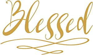 Crafte Life Blessed Wall Sticker | Home Decor Wall Decal | Large (21 x 13 inches) Inspirational Wall Quote | Religious Christian Vinyl Wall Decals (Gold)
