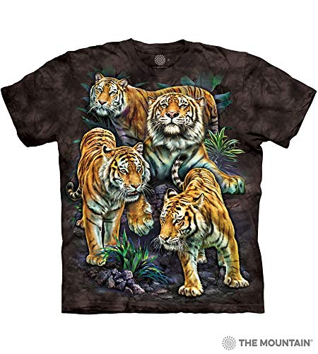 The Mountain Bengal Tiger Collage Adult T-Shirt, Black, Small