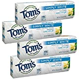 Tom's of Maine Natural Simply White Fluoride Toothpaste Sweet Mint 4.70 oz (Pack of 4)