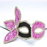 Mask Costume Ladies Fabric Eye Mask Masquerade Ball Fancy Dress Clover Design J1990# (Black combine pink)