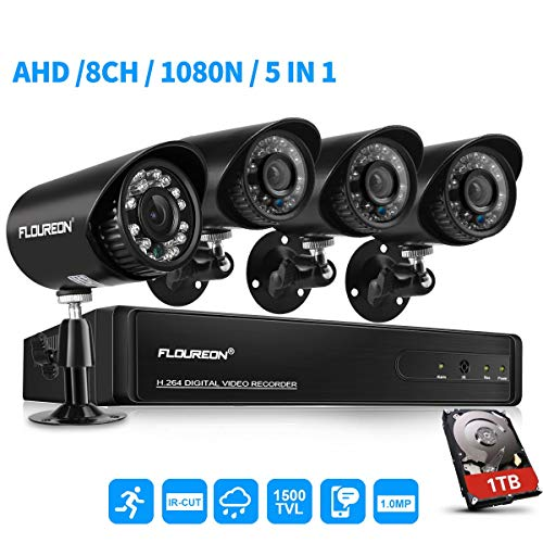 FLOUREON House Security Camera System 4 Pack 8CH 1080N AHD DVR Kit 5 in 1 TVI + 4 X 1500TVL 720P HD Bullet Indoor/Outdoor Surveillance CCTV Camera with 1TB Hard Drive (8CH+1500TVL Bullet + 1 TB HDD)