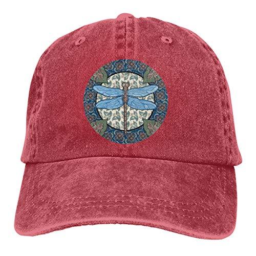 - 2 Pack Multicolor Dragonfly Adjustable Baseball Cap Denim Hat for Women and Men