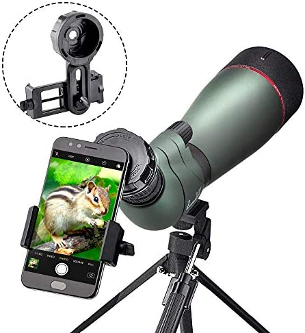 Landove 20-60X 80 Prism Spotting Scope- Waterproof Scope for Birdwatching Target Shooting Archery Outdoor Activities -with Tripod Digiscoping Adapter-Get The Beauty into Screen