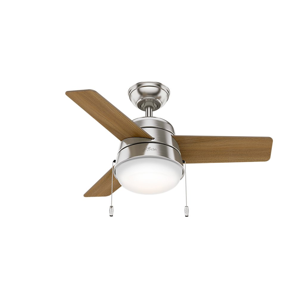 Hunter Indoor Ceiling Fan with LED Light and pull chain control – Aker 36 inch, Brushed Nickel, 59303