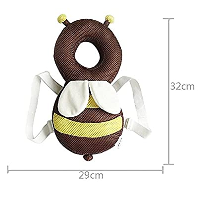 Baby Head Protector Baby Toddlers Head Safety Pad Cushion Baby Back Protection Prevent Toddlers injured Suitable Age 4-24 Months (Breathable Bee)