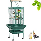 Yaheetech 61'' Wrought Iron Rolling Large Bird Cages for African Grey Mid-Sized Parrots Cockatiels Indian Ring Neck Sun Parakeet Green Cheek Conure Lovebird Budgie Finch Canary Bird Cage with Stand
