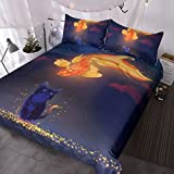BlessLiving Funny Cat and Goldfish Bedspread 3 Piece Woodland Animals Bedding Vintage Asian Cat Duvet Cover Set (Twin)