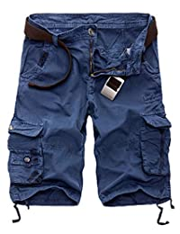 Silver Basic Men's Retro Baggy Twill Cargo Shorts Casual Loose Relaxed Summer Shorts Multi Pockets