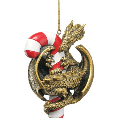 Design Toscano Gothic Dragon with a Candy Cane Sweet Tooth Christmas Tree Ornament, 4 Inch, Polyresin, ()