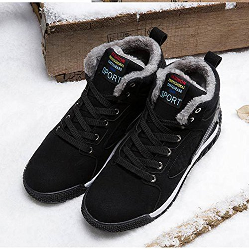 Hibote Men's Shoes Winter Sport Shoes Sneaker Men Winter Shoes Warm Lined Winter Boots Sport Sneakers Running Trainers High-Top Casual Shoes Hiking Boots UK 6-8.5 Black 736cGi