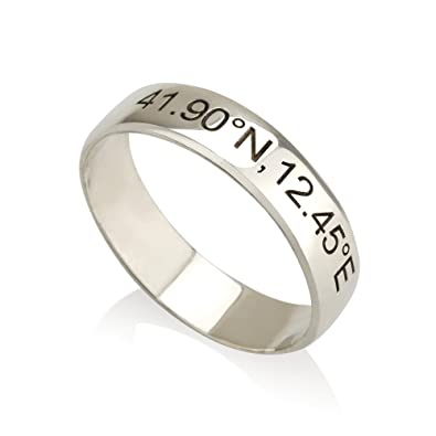 Amazon.com: Coordinates Ring / Latitude Longitude Ring ...