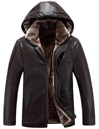 Tanming Men's Winter Warm Leather Coat Real Fur Hooded Leather Jacket (X-Large, 0-112Brown) (Costume Zara Slim)