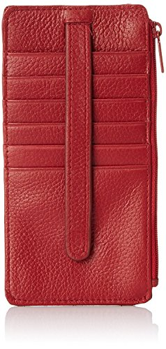 Buxton Womens Leather 3 in 1 Thin Credit Card Case Wallet/Change Purse/Id Holder (Red-RFID Protected)